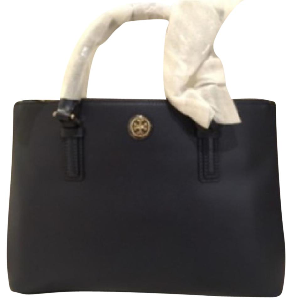 0a9e3a733133d Tory Burch Robinson Mini Double Zip Navy Leather Tote - Tradesy