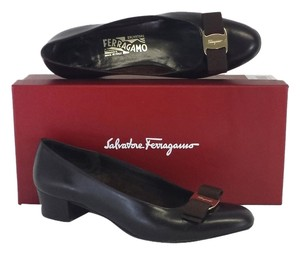 Salvatore Ferragamo Dark Brown Leather Vara Pumps