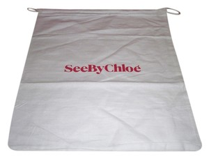 See by Chloé Tote in White with red logo