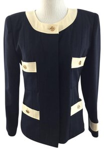 Chanel Navy Cream Wool Dark Navy/Cream Jacket