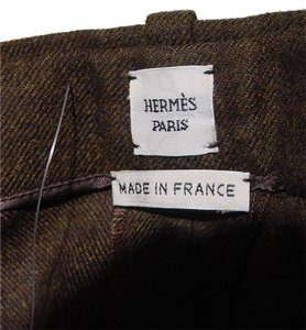 Herms Trousers Straight Pants dark brown