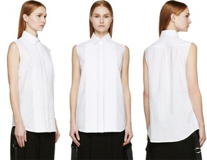 MCQ by Alexander McQueen Sleeveless Poplin Button Pleates Top white