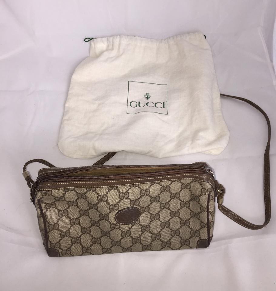 c956fcf1aba Gucci Vintage Triangle with Insignia Logo Pattern Brown Faux Leather ...