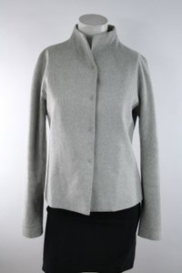 Magaschoni Magaschoni Gray Wool Mock-neck Collarless Snap Button Blazer Jacket