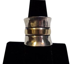 Silpada Gold Cigar Ring - R1810 - Retired RARE & Silpada Plain Wide Cuff Ring R0891 Size 8 - Retired