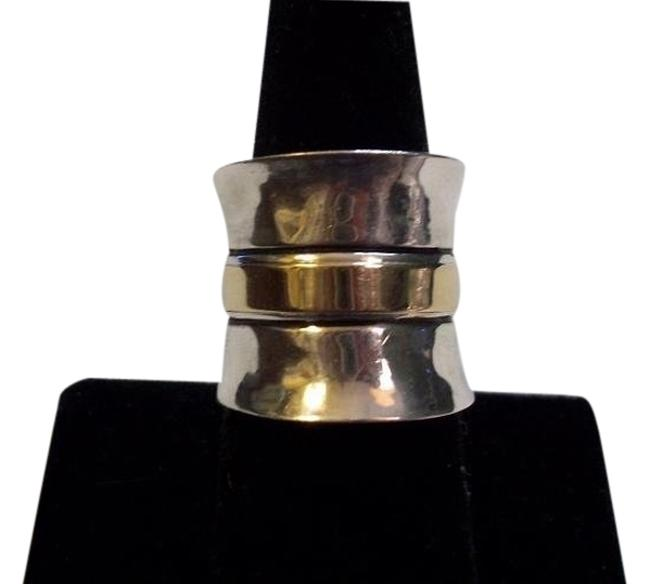 Item - Two Tone; Sterling Silver .925/9k Gold Cigar - R1810 - Retired Rare Plain Wide Cuff R0891 Size 8 - Retired Ring
