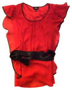 BYER Ribbon Sheer Top Red with black trim