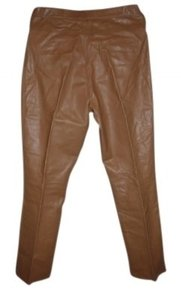 Rem Garson Leather Butter Soft Smooth Polyester Lining. Relaxed Pants Tan