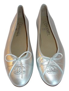 Chanel Ballet Silver Flats