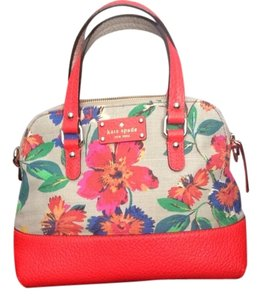 Kate Spade Tote in Floral, Taupe, Bright Orange/persimmon