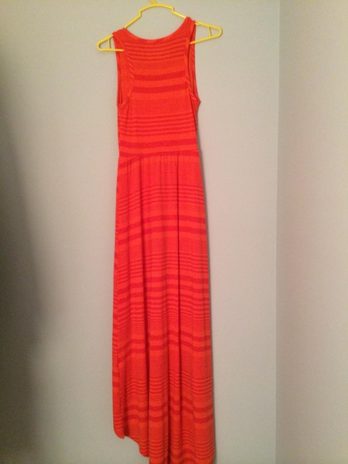 Orange Maxi Dress by Mossimo Supply Co. High Low Maxi Summer Cotton Stripes Sleeveless Scoop Neck Fitted