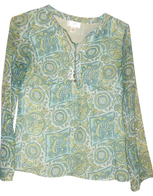 Ann Taylor LOFT Top different tones of green, grey and cream