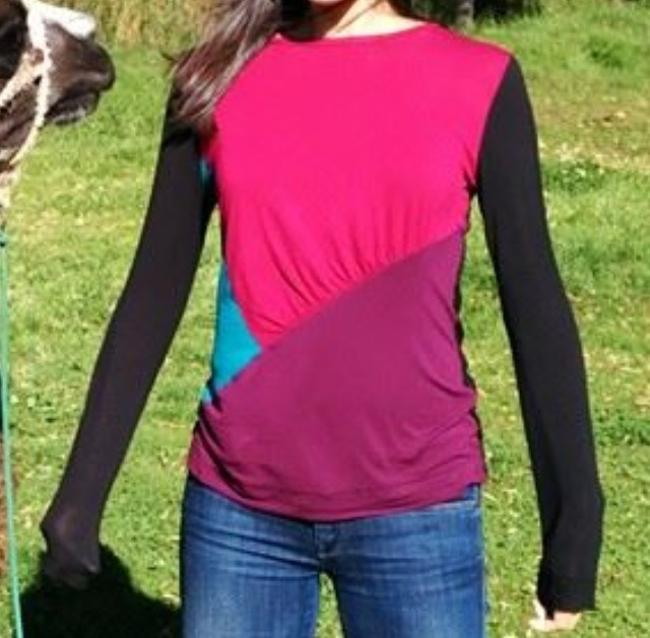 Narciso Rodriguez Colorblock Long Sleeve Longsleeve Gathered At Side Top Multi