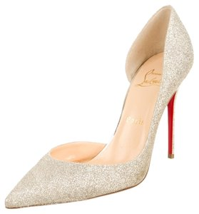 Christian Louboutin Gold Glitter Leather Textured Embellished Pointed Toe Stiletto D'orsay Iriza New 38.5 8.5 Silver Pumps