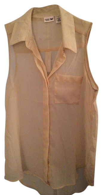 Scooter Brown Collar Buttons Top Off-white