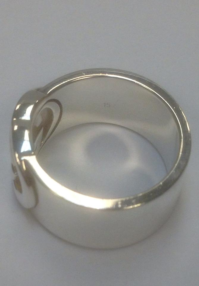5c2681838 Gucci Sterling Silver Wide Band with Interlocking Gg Motif Ring ...