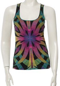 Emilio Pucci Green Abstract Logo Monogram Print New Embellished Silk Sleeveless S Small 40 42 8 Top Black, Purple, Multicolor