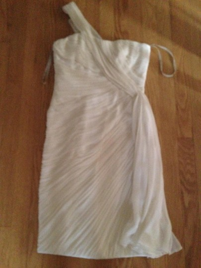 Monique Lhuillier White Lightweight Silk Crepe Woven Casual Wedding Dress Size 4 (S)