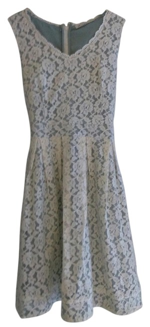 Item - Modcloth Fern with Cream Lace Crocheted Crochet Above Knee Short Casual Dress Size 12 (L)