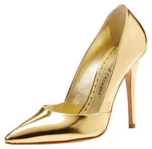Jean-Michel Cazabat Leather Pointed Toe Stiletto Gold Luxury Metallic Gold Pumps