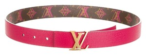 Louis Vuitton Brown, pink and multicolor Louis Vuitton Reversible Initiales gold LV buckle belt XS