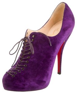 Christian Louboutin Suede Leather Round Toe Embellished Textured 37.5 7.5 New Purple Boots