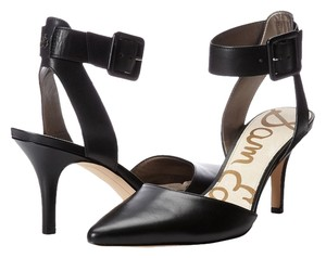Sam Edelman Ankle Strap Almond Toe Black Pumps