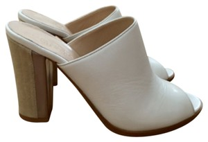 Club Monaco White Heeled Peep Toe Nude/Natural Sandals