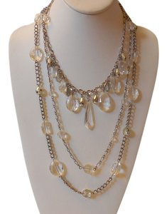 Other Gorgeous Multi Strand Necklace Silver Tone Chain and Faceted Beads