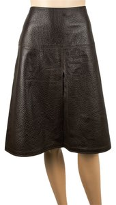 Charles Nolan Leather A-line Skirt Brown