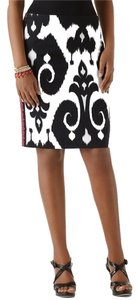 White House | Black Market Ikat Embroidered Pencil Skirt Black and White