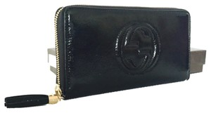 69d547b1131 Gucci Gucci Soho Soft Black Patent Leather Zip Around Wallet 308004 AY65G  1000
