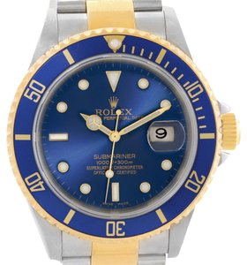 Rolex Rolex Submariner Two Tone Blue Dial Watch 16613 Year 2004
