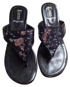 Enzo Angiolini Black Sequin Sandals