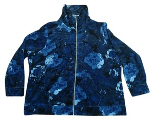 Style & Co Blue floral velour track jacket, Plus Size 3X #2026