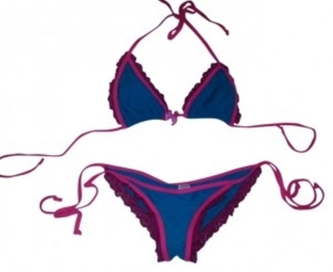 Item - Teal Blue and Fuschia Pink With Tie Bottoms Bikini Set Size 12 (L)