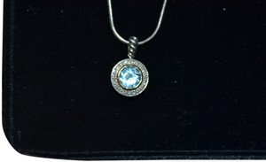 ATR Jewelry ATR Jewelry Stunning Blue Albion Diamond Encircled Pendant Necklace