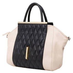 Raoul Leather Italian Quilted Tote in Black - Beige