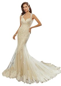 Sophia Tolli Vintage Lace Gold Dress