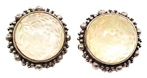 Stephen Dweck STEPHEN DWECK Etched Beige Stone + Sterling One-of-a-kind Clip Earrings 1