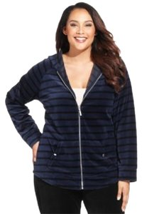 Style & Co Blue & black striped velour hoodie track jacket, Plus 1X #2031