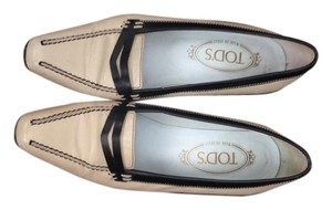 Tod's Loafer Blue And White Classic Kitten Heel Quality Ivory Flats