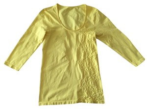 Last Tango 3/4 Sleeve Scoop Neck Bodycon T Shirt daffodil yellow