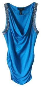 White House | Black Market Beaded Ruched Draped Top Blue