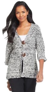 JM Collection Plus-size 2x Metallic Wood Buttons Cardigan