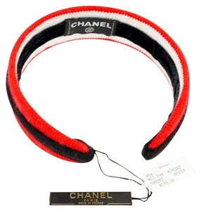 Chanel Chanel Red, Black, & White Cotton Knit Headband