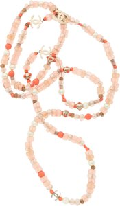 Chanel Chanel Glass Pearl & Pink Beaded CC Necklace