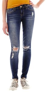 YMI Jeans Denim Destructed Destroyed Butt Lifting Deconstructed Skinny Jeans-Medium Wash