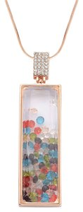Other Multi-Color Austrian Crystals in Rosetone Pendant 3in with ION PTD RG 30in chain