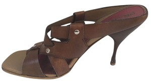 Prada Studded Leather Strappy High Heel Studded Brown Sandals
